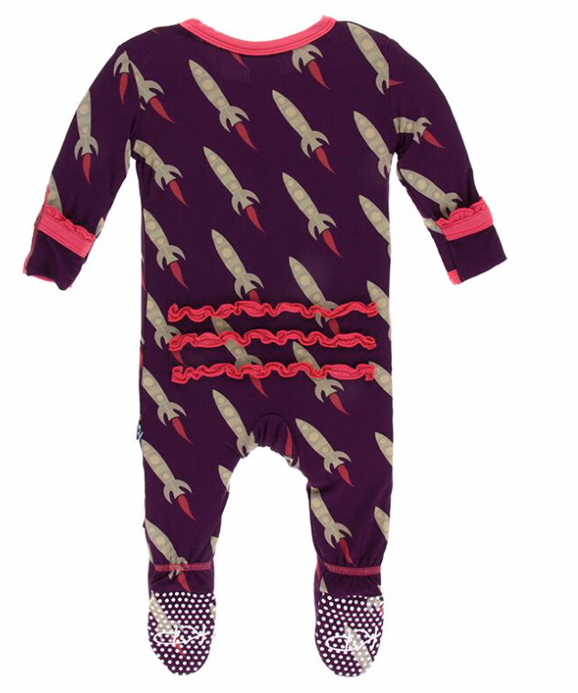 Kickee Pants Grape Rockets Muffin Ruffle Footie
