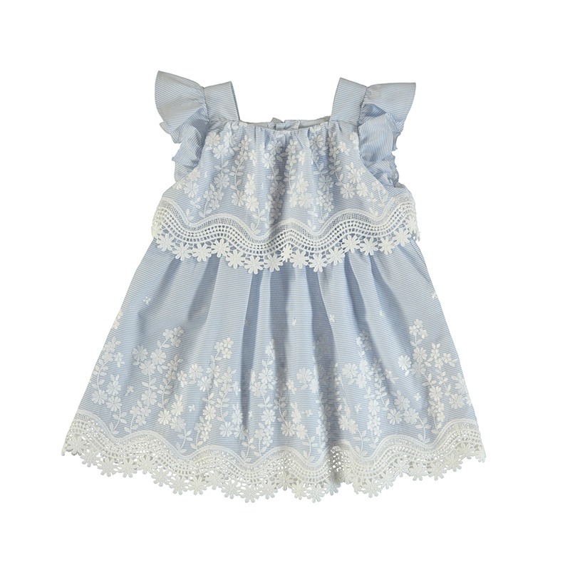 Mayoral Gracie Blue Embroidered Dress