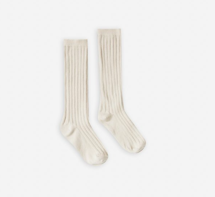 Rylee & Cru Solid Ribbed Natural Sock