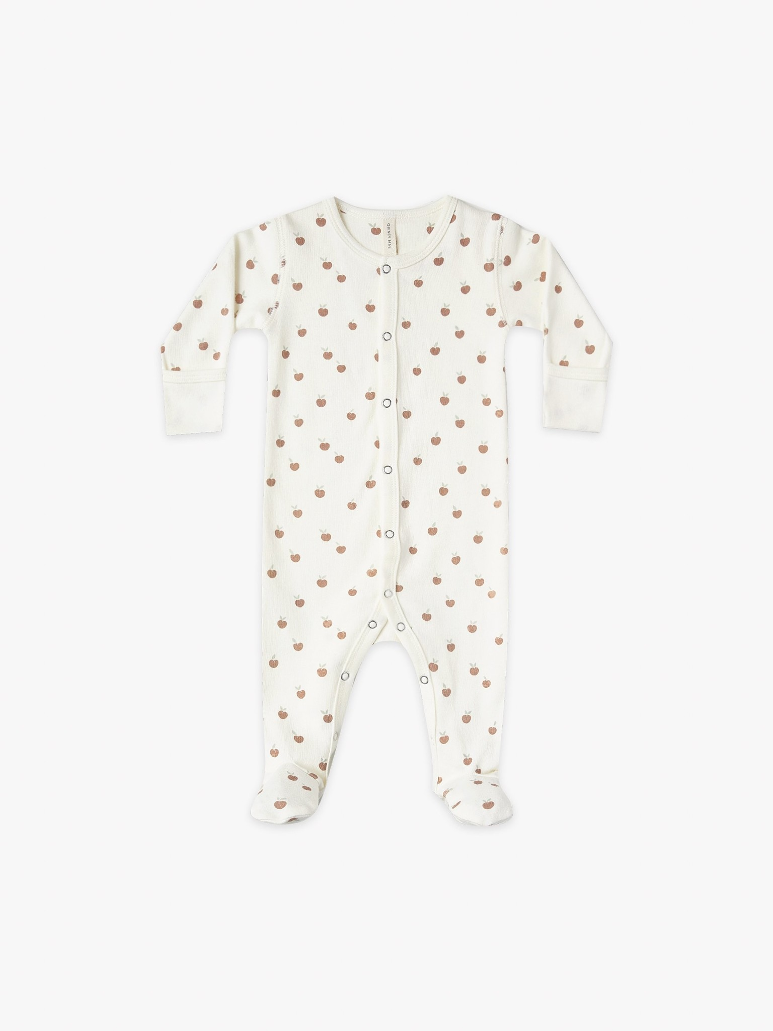 Quincy Mae Snap Footie Ivory/Peach