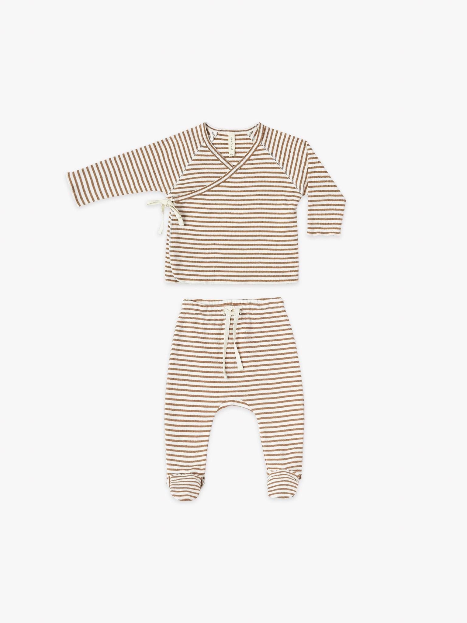 Quincy Mae Kimono Top+Footed Pant Rust Stripe