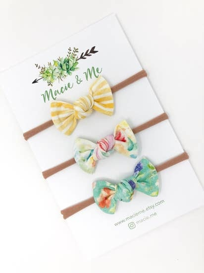 Macie & Me Yellow and Floral Hair Bows / Set of 3