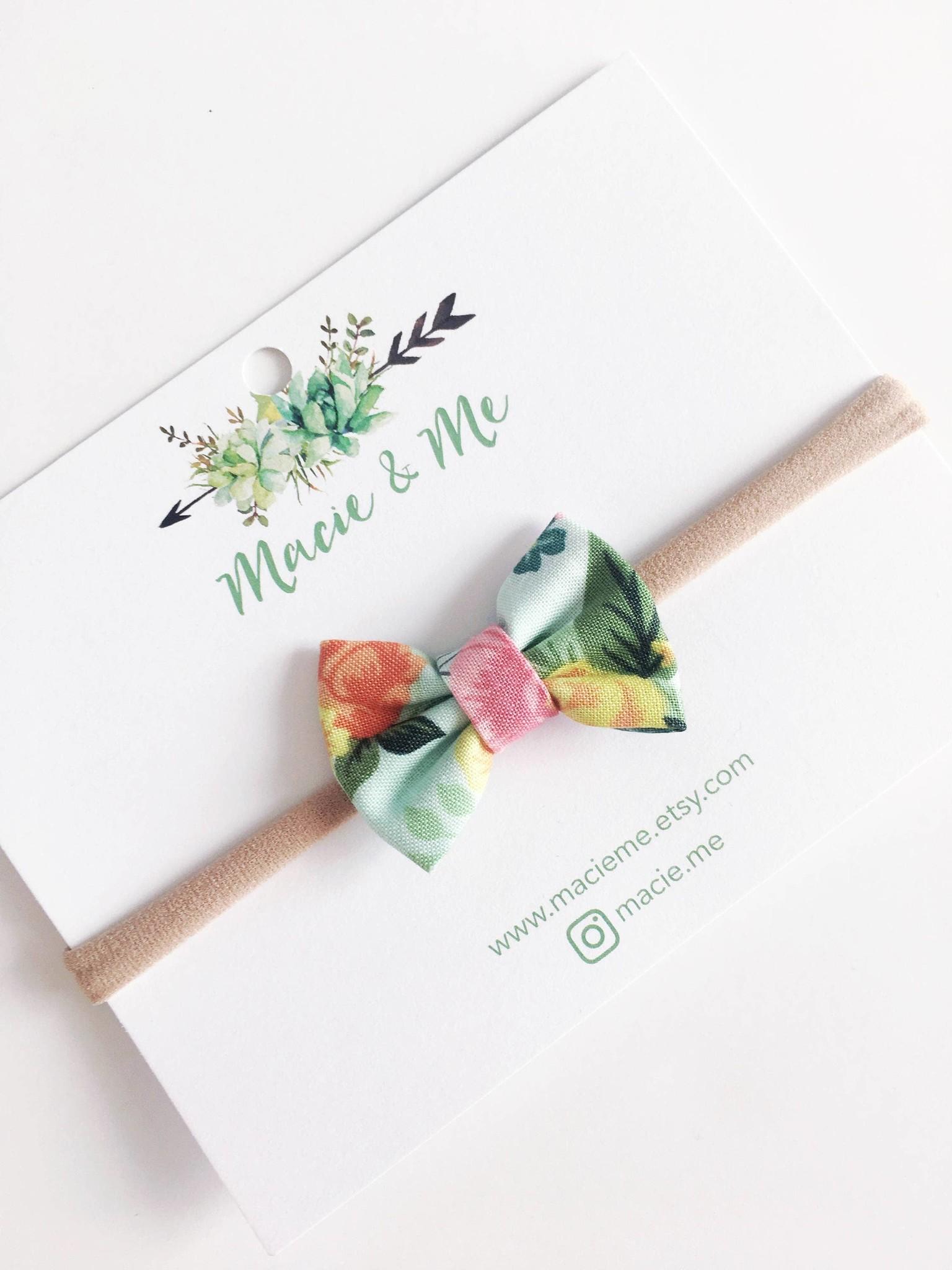Macie & Me Green Floral Mini Bow Nylon Headband
