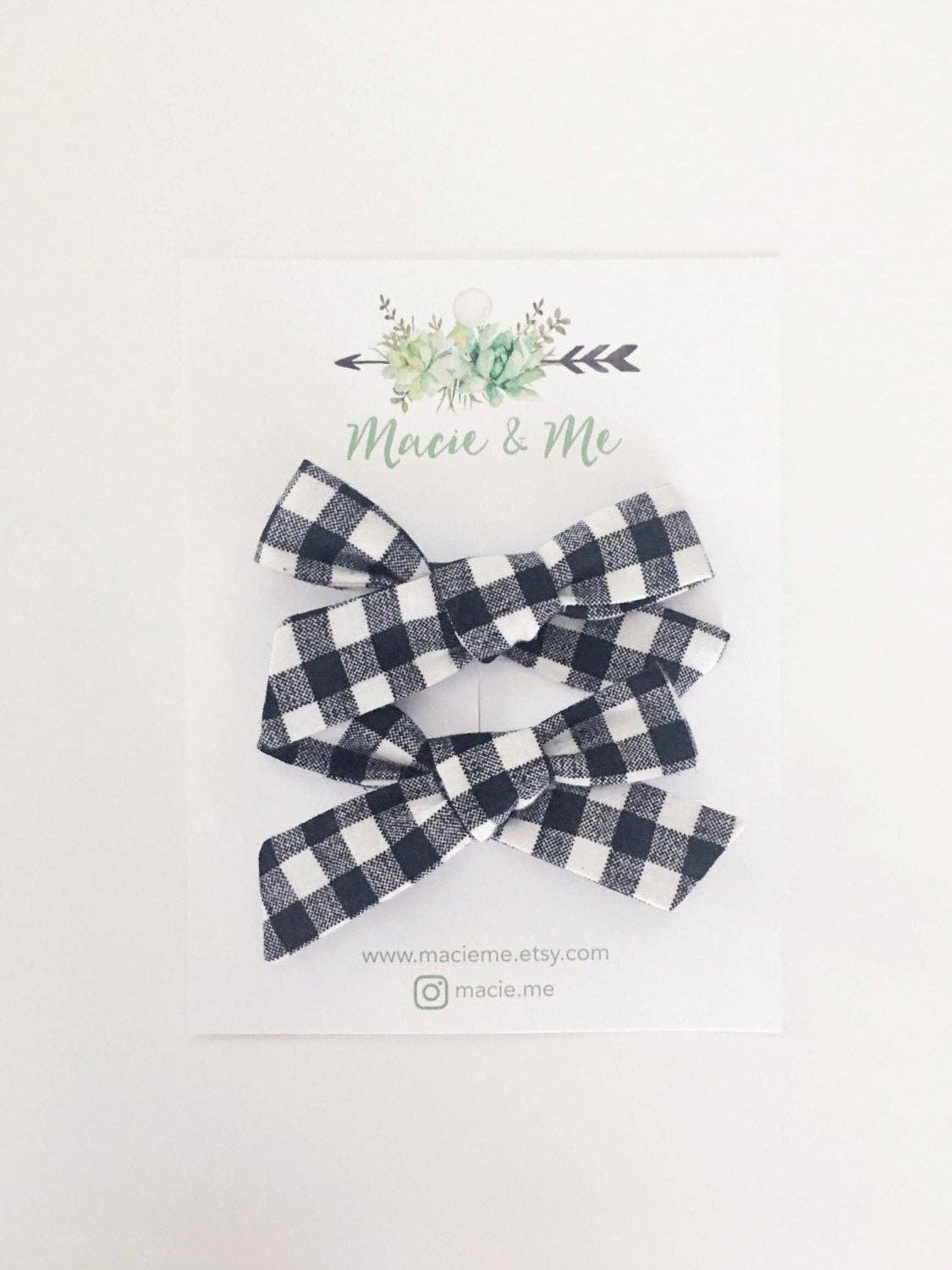 Macie & Me Black and Cream Gingham 2 Bow Clips