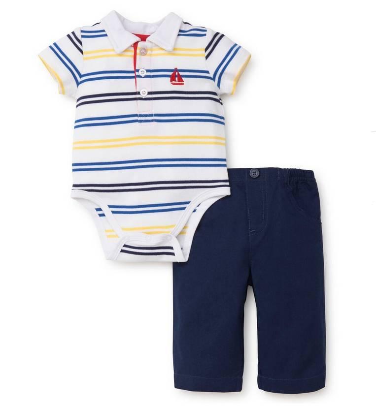 Little Me Sailboat Polo Pant Set
