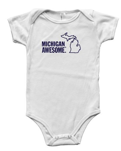 Great State Apparel Michigan Awesome Onesie SS White