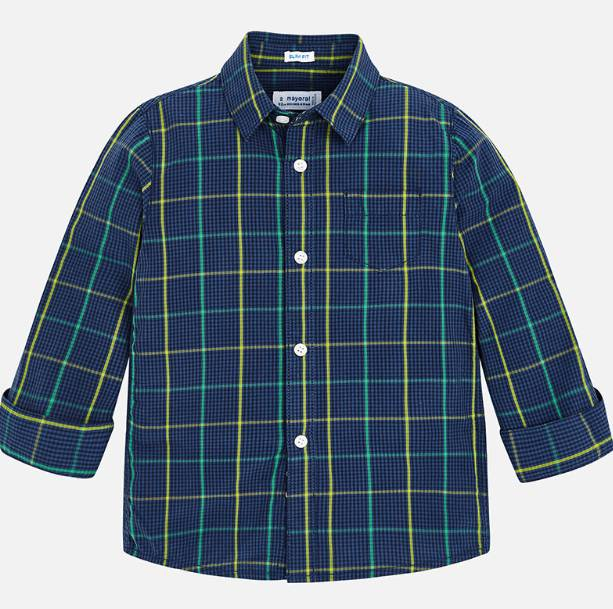 Mayoral Blue Longsleeve Checked Shirt