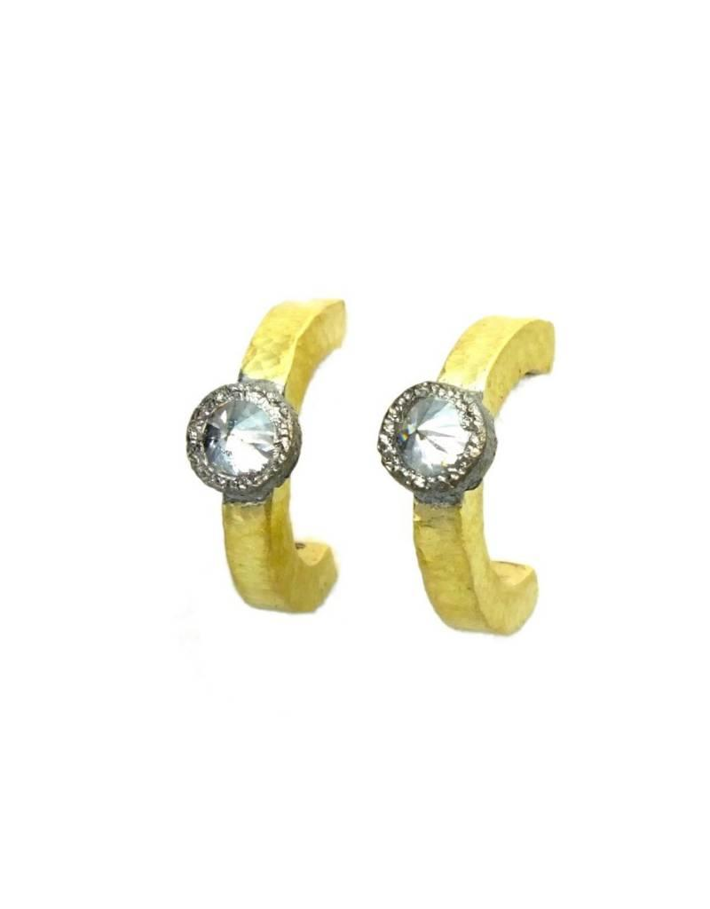 TAP by Todd Pownell Inverted Single Diamond Hoop Earrings