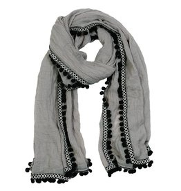 Pom Pom at Home Pom Pom Scarf - Light Grey