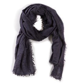 Pom Pom at Home Lightweight Frayed Scarf - Navy