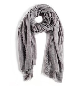 Pom Pom at Home Lightweight Frayed Scarf - Light Grey