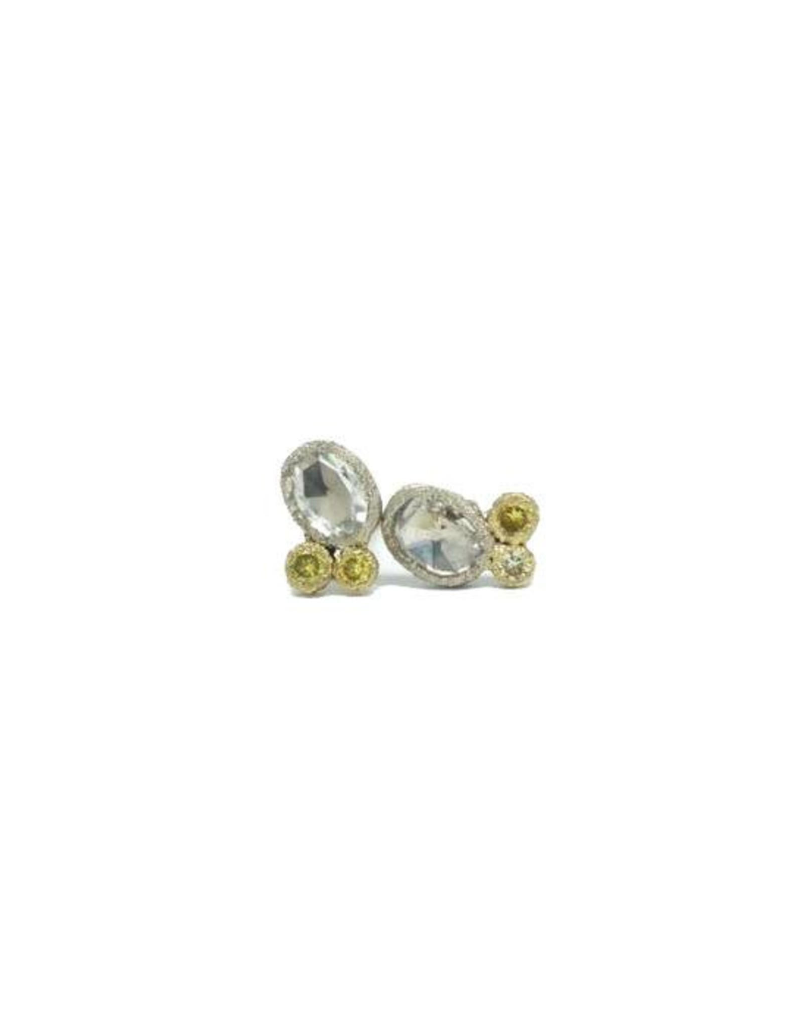 TAP by Todd Pownell Bezel Set Oval Rose Cut and Yellow Diamond Studs