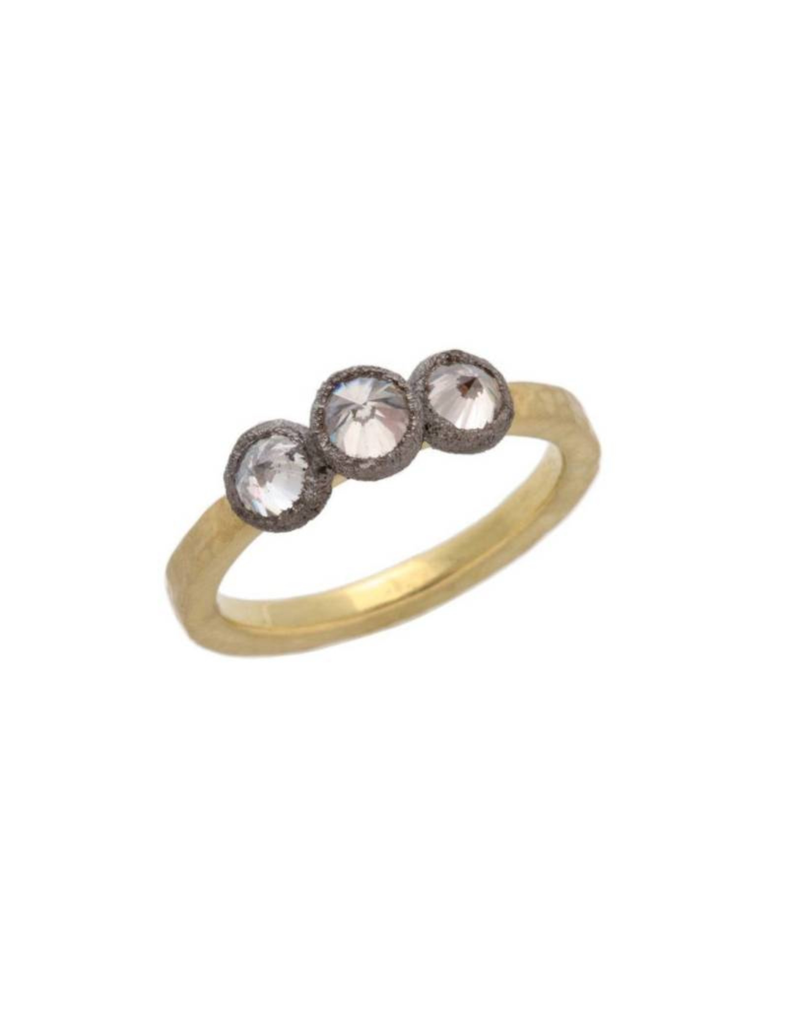 TAP by Todd Pownell Square Hammered Shank Ring with 3 Inverted Diamonds - 18K Yellow Gold