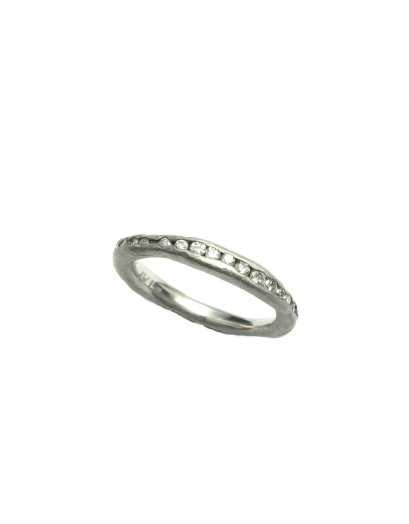 TAP by Todd Pownell Palladium Irregular Channel Ring with Diamonds