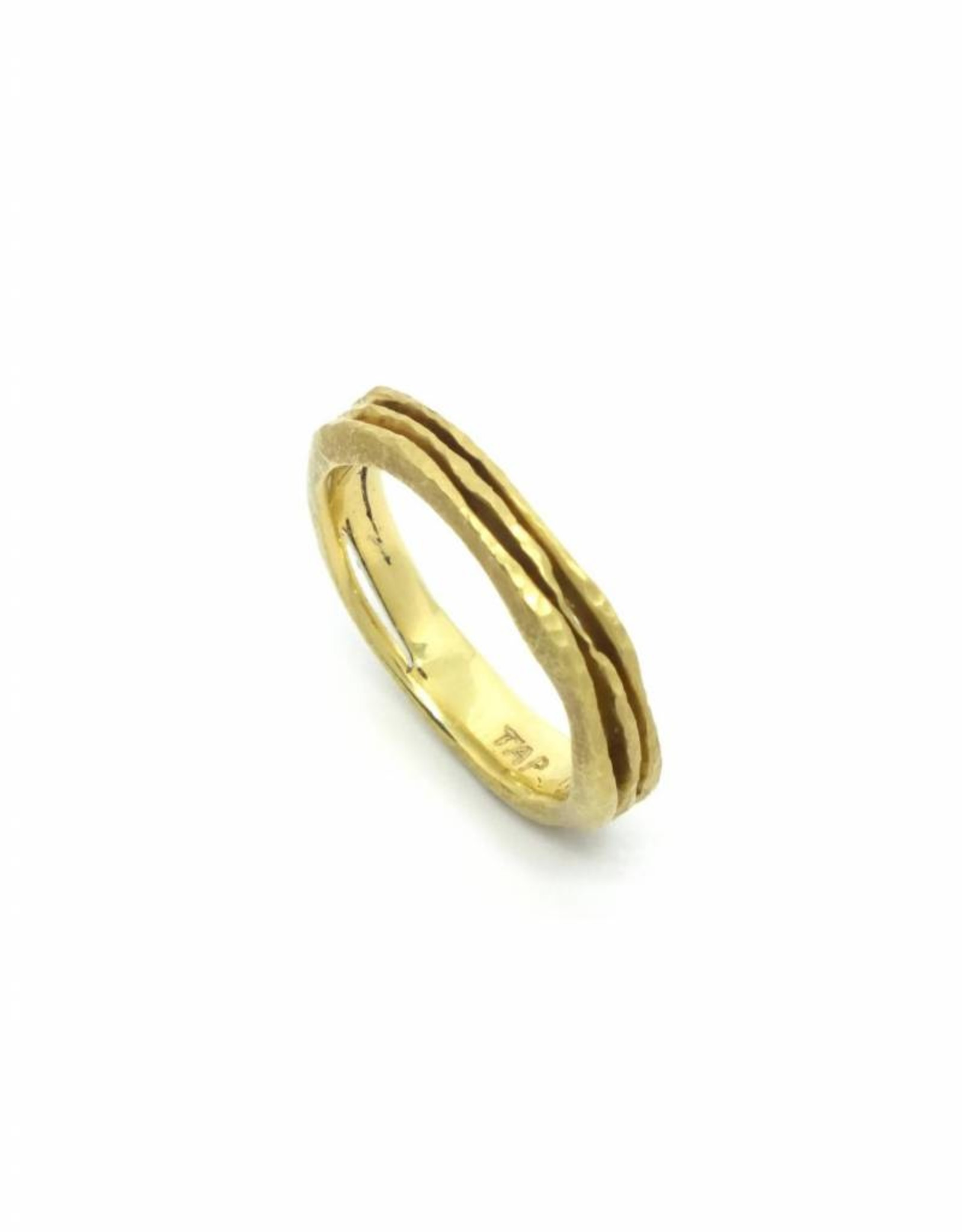 TAP by Todd Pownell Gold Wavy Ring with 3 Rows