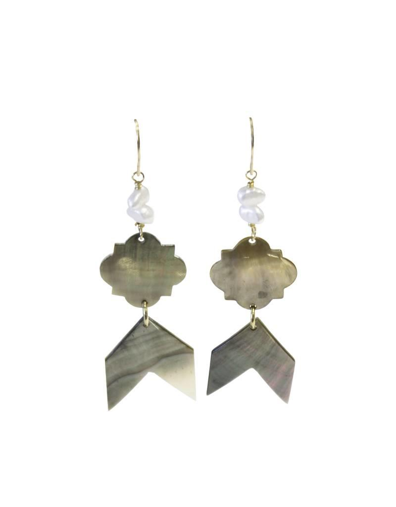 Bluma Project Chevron Earrings - Shell
