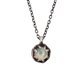 Lauren Wolf Jewelry Tiny Oxidized Silver Octagon Necklace - Opal