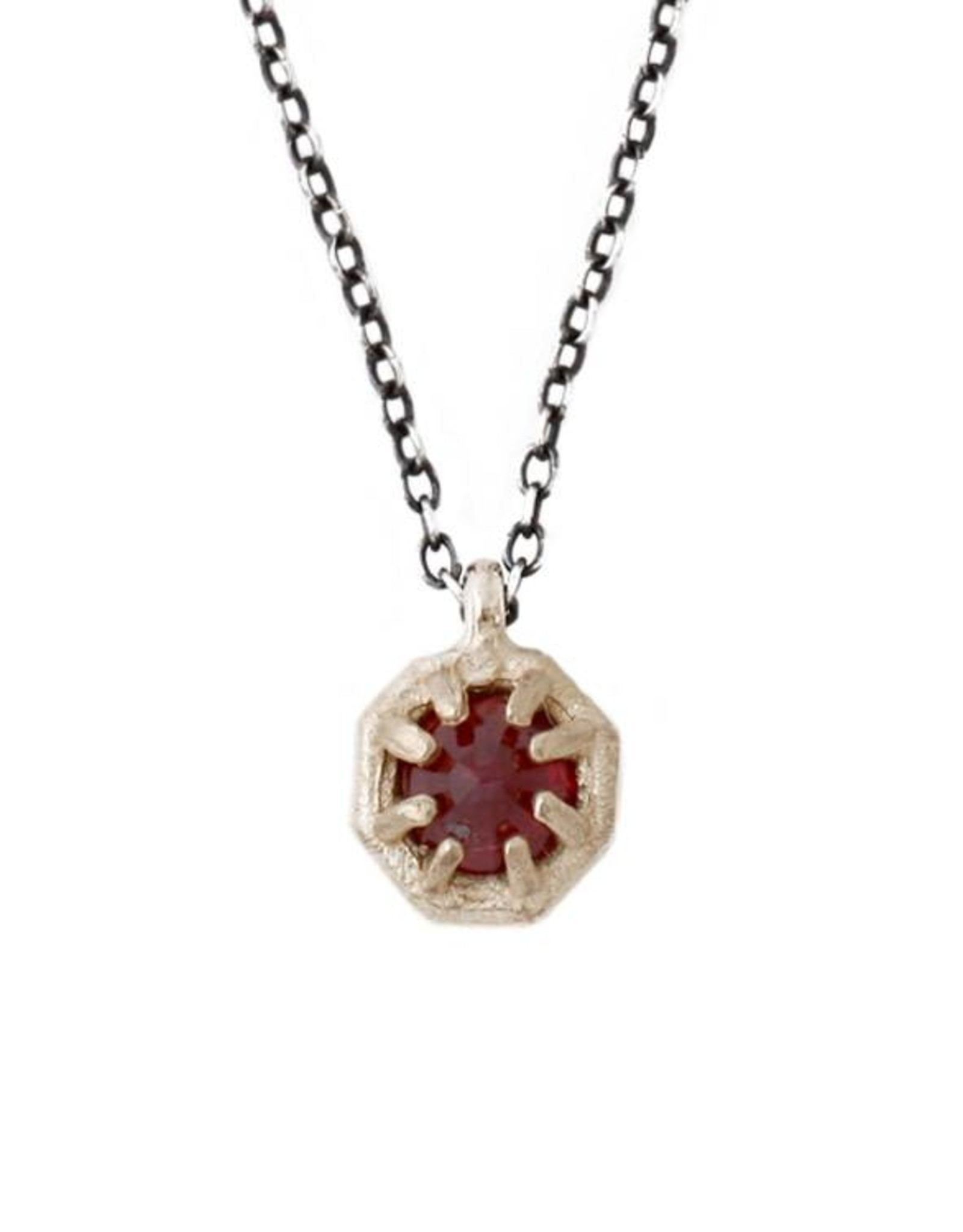 Lauren Wolf Jewelry Tiny Gold Octagon Necklace - Ruby