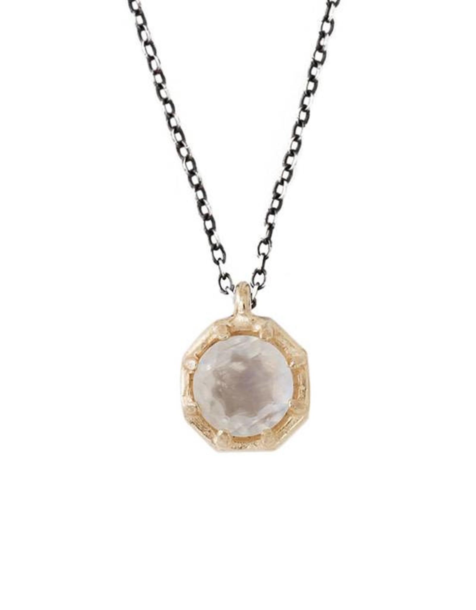 Lauren Wolf Jewelry Gold Octagon Necklace - Rainbow Moonstone