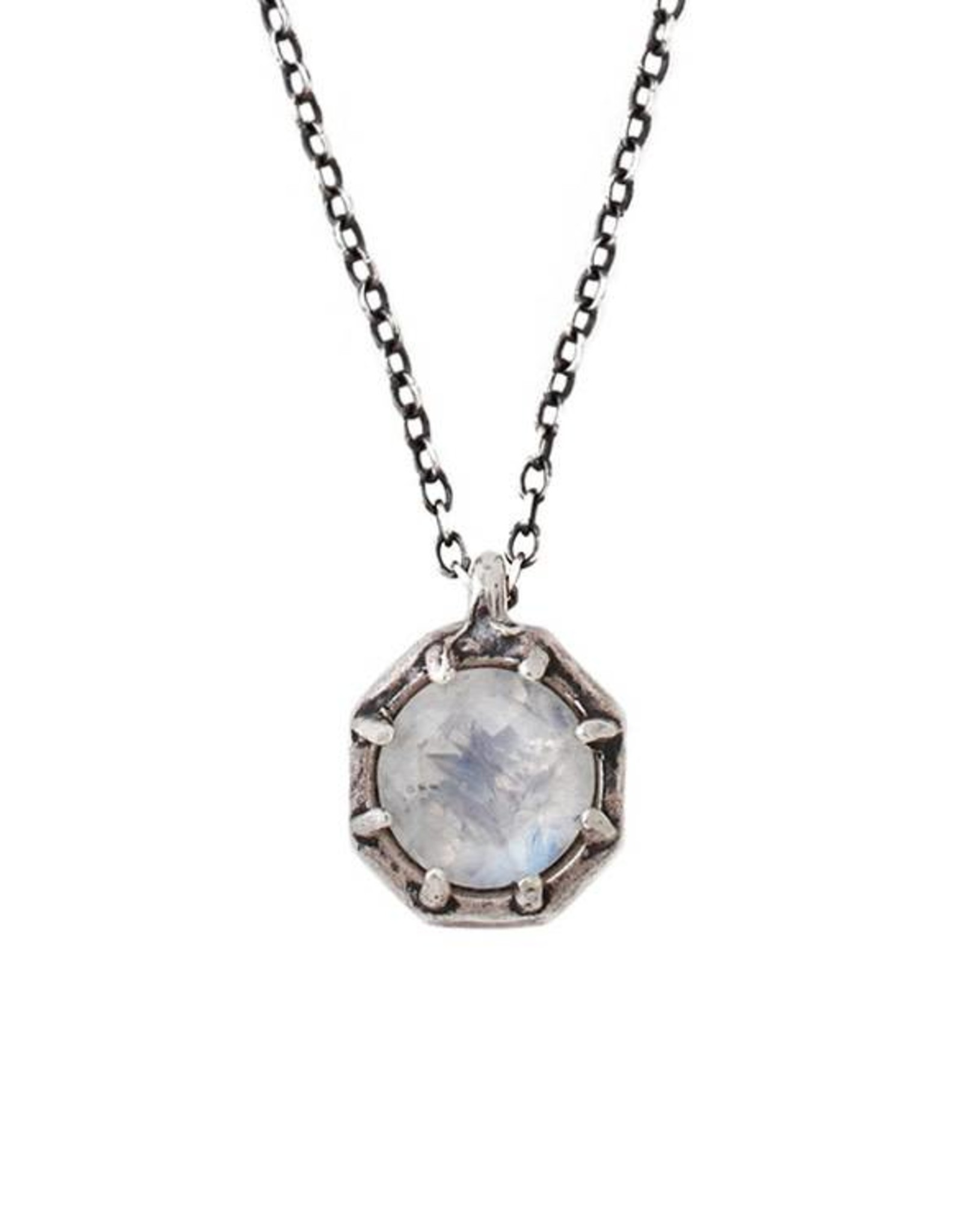 Lauren Wolf Jewelry Oxidized Silver Octagon Necklace - Rainbow Moonstone