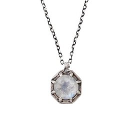 Lauren Wolf Jewelry Oxidized Silver Octagon Necklace - Rainbow Moonstone