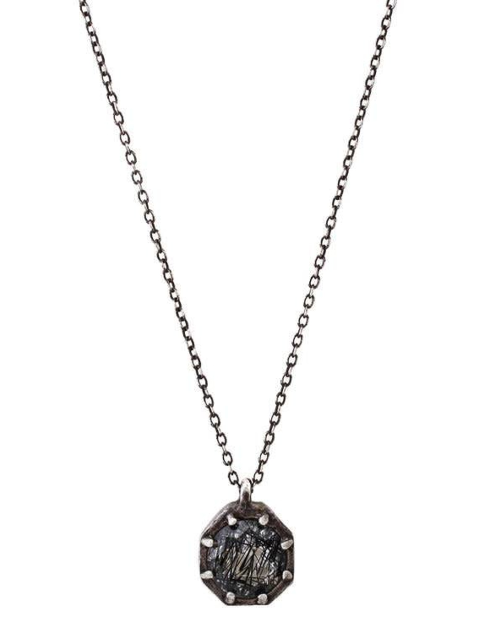Lauren Wolf Jewelry Oxidized Silver Octagon Necklace - Tourmalated Quartz