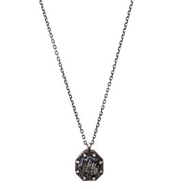 Lauren Wolf Jewelry Oxidized Silver Octagon Necklace - Tourmalated Quartz