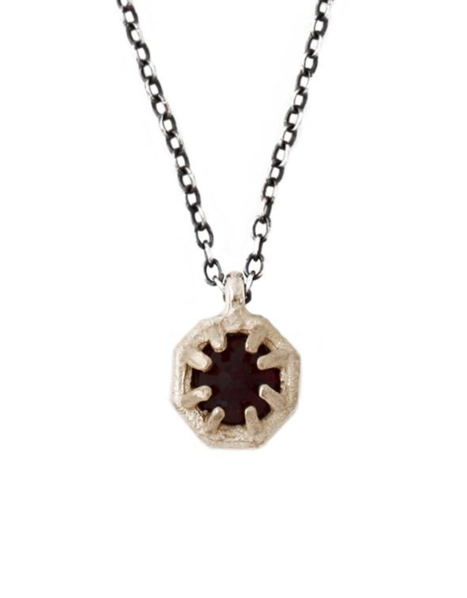 Lauren Wolf Jewelry Tiny Gold Octagon Necklace - Black Spinel