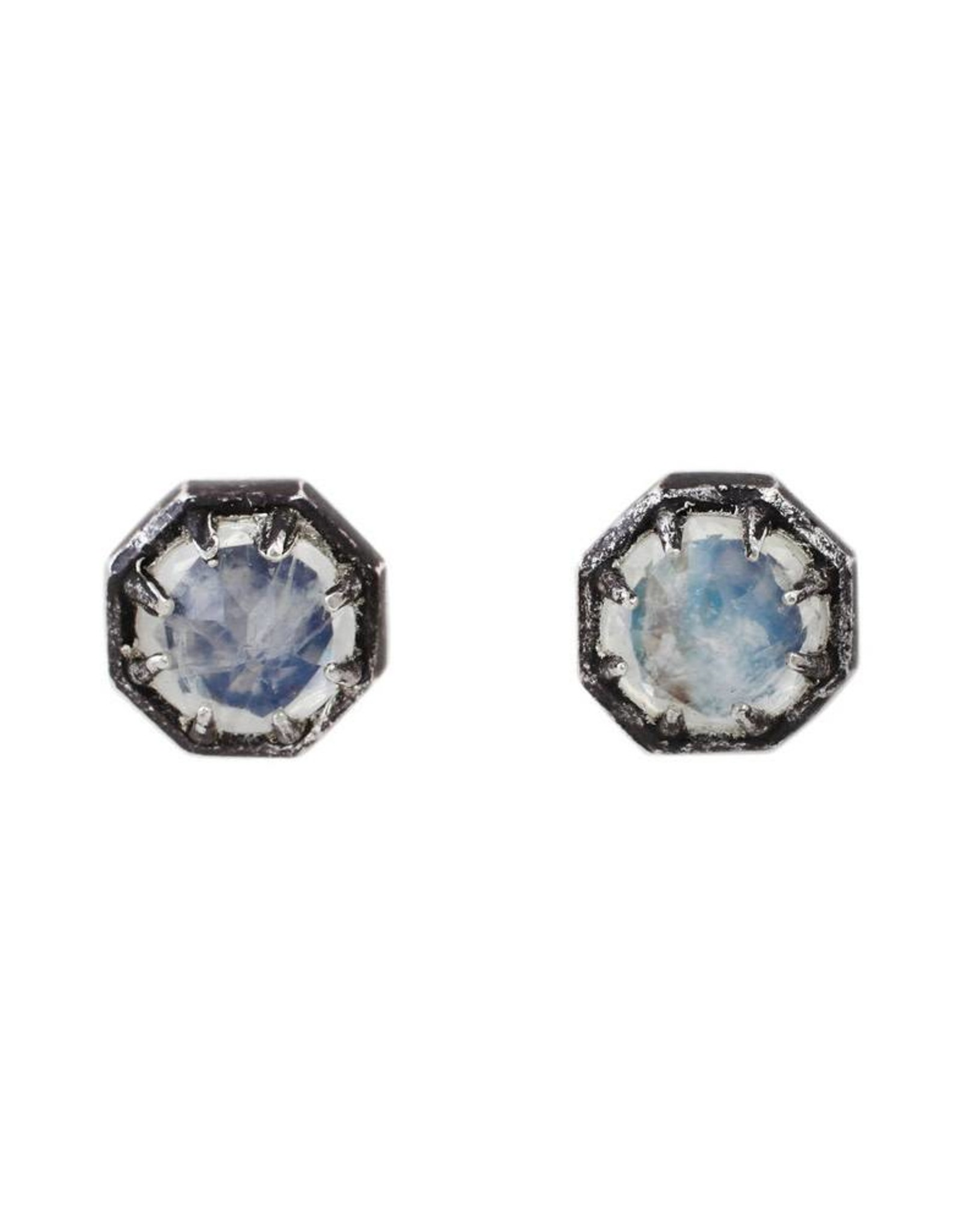 Lauren Wolf Jewelry Oxidized Silver Octagon Studs - Rainbow Moonstone