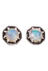 Lauren Wolf Jewelry Tiny Oxidized Silver Octagon Studs - Opal