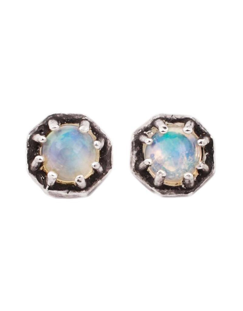 c4aa84f8c Lauren Wolf Jewelry Tiny Oxidized Silver Octagon Studs - Opal - alchemy