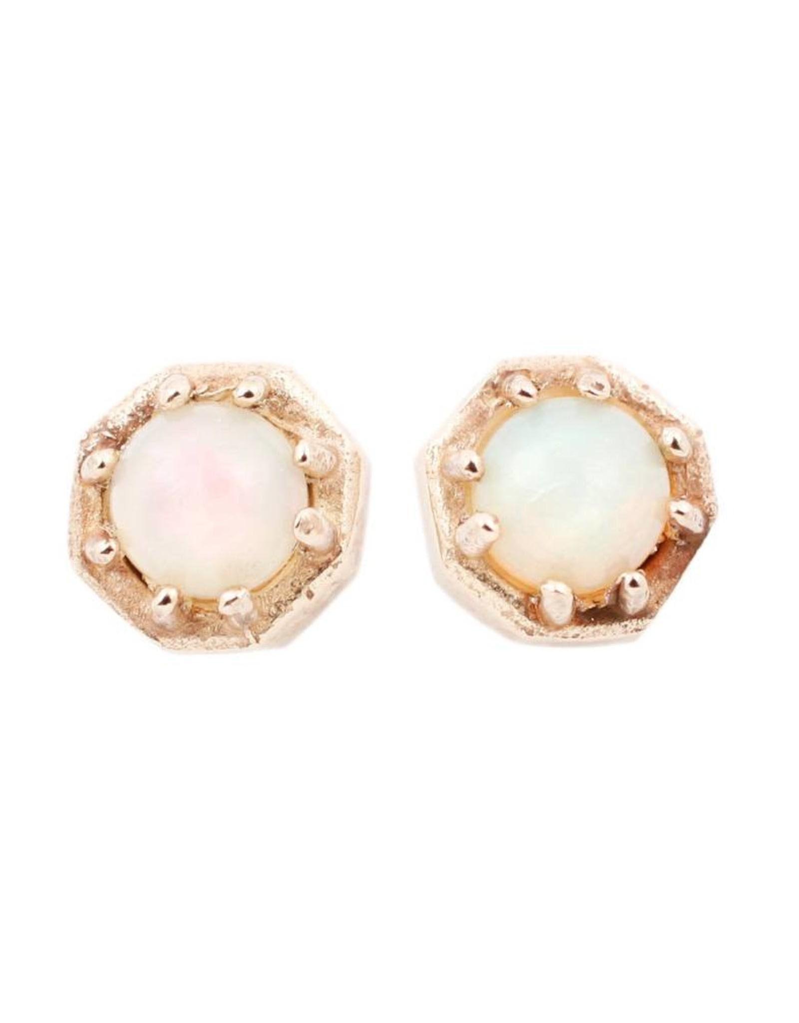 Lauren Wolf Jewelry Tiny Gold Octagon Studs - Opal