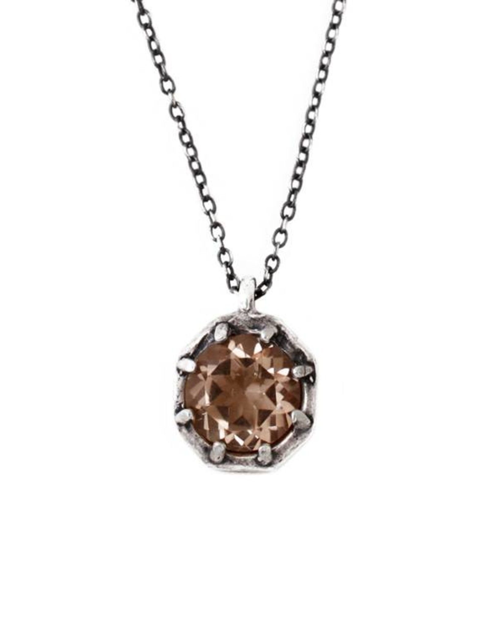 Lauren Wolf Jewelry Oxidized Silver Octagon Necklace - Champagne Quartz