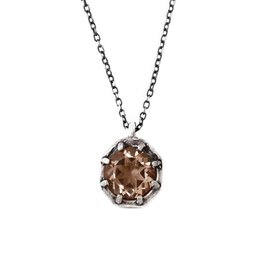 Lauren Wolf Jewelry Oxidized Silver Octagon Necklace - Champagne Quartz