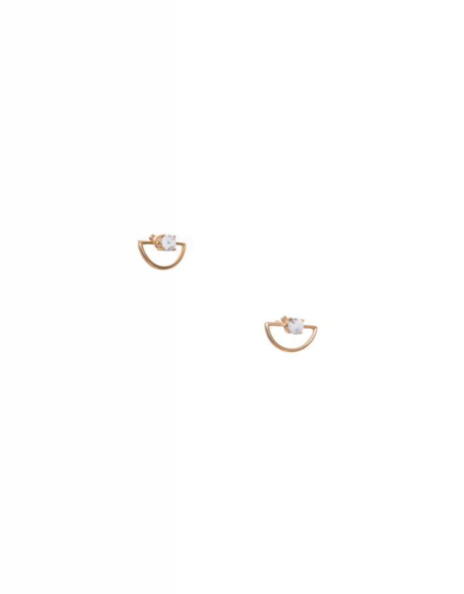 Hailey Gerrits Designs Half-Moon Studs - Dendrite Opal