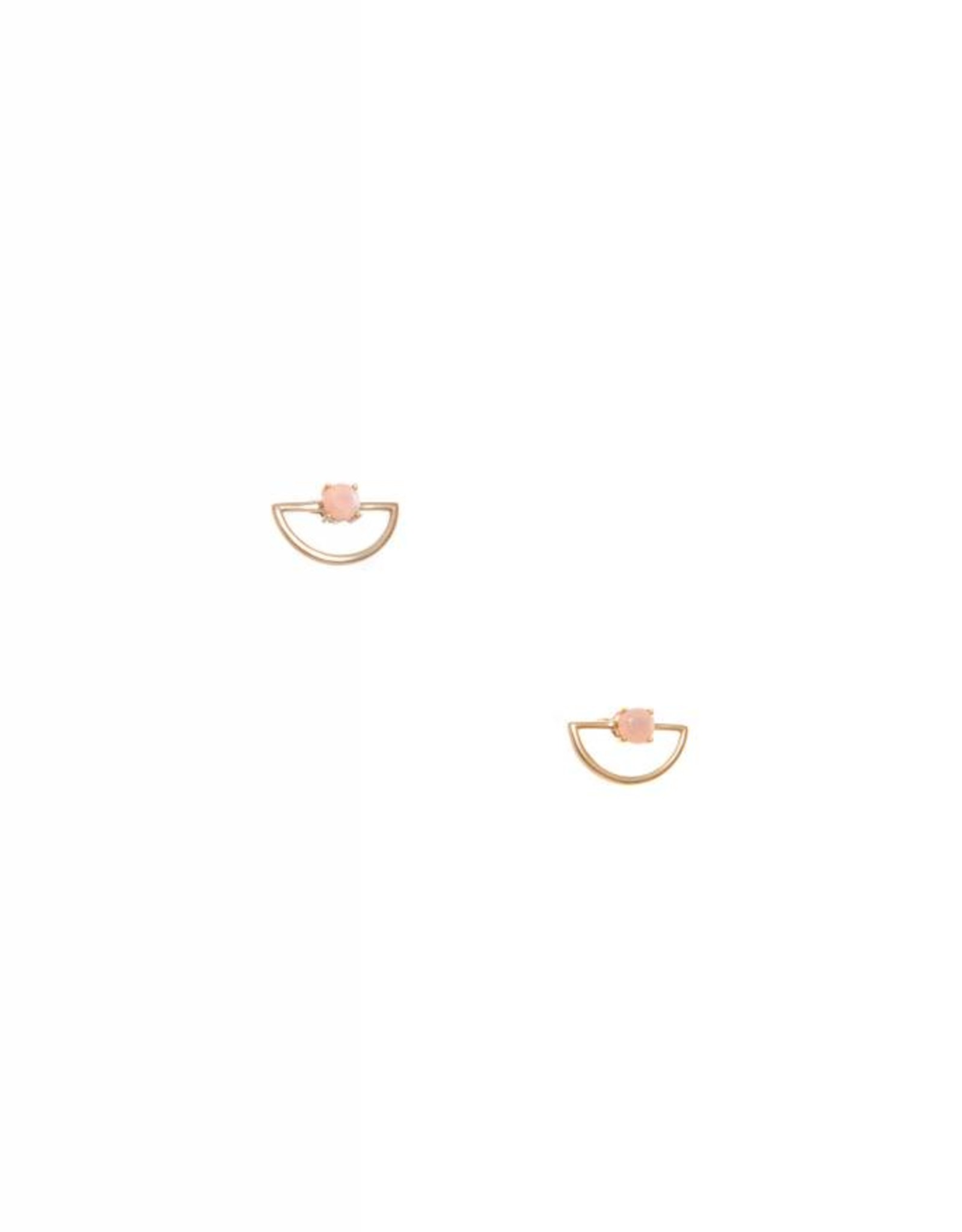 Hailey Gerrits Designs Half-Moon Studs - Peach Moonstone
