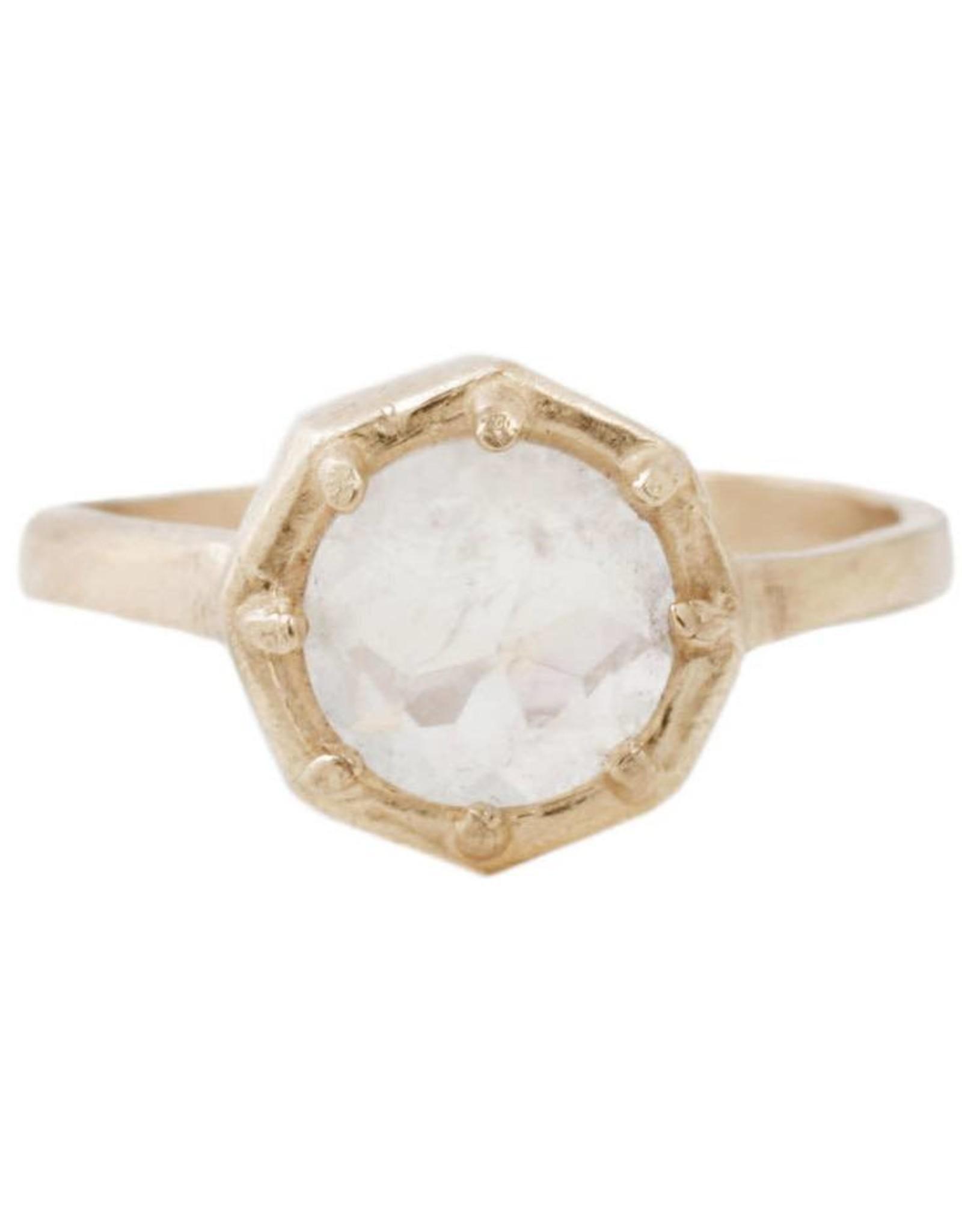Lauren Wolf Jewelry Gold Octagon Ring - Rainbow Moonstone