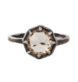 Lauren Wolf Jewelry Oxidized Silver Octagon Ring - Champagne Quartz