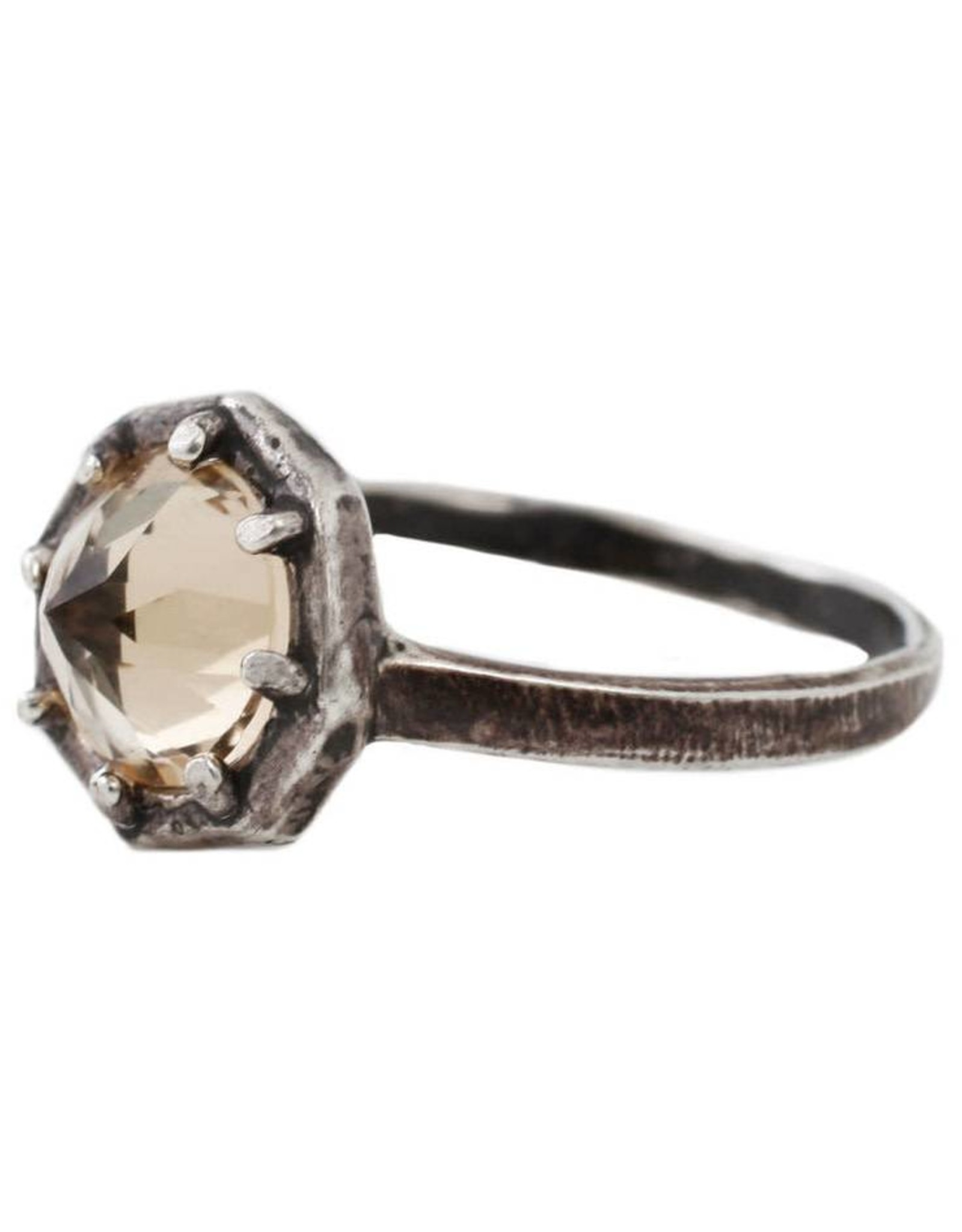 Lauren Wolf Jewelry Oxidized Silver Octagon Ring - Champagne Quartz