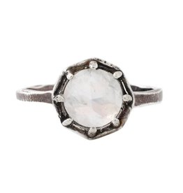 Lauren Wolf Jewelry Oxidized Silver Octagon Ring - Rainbow Moonstone