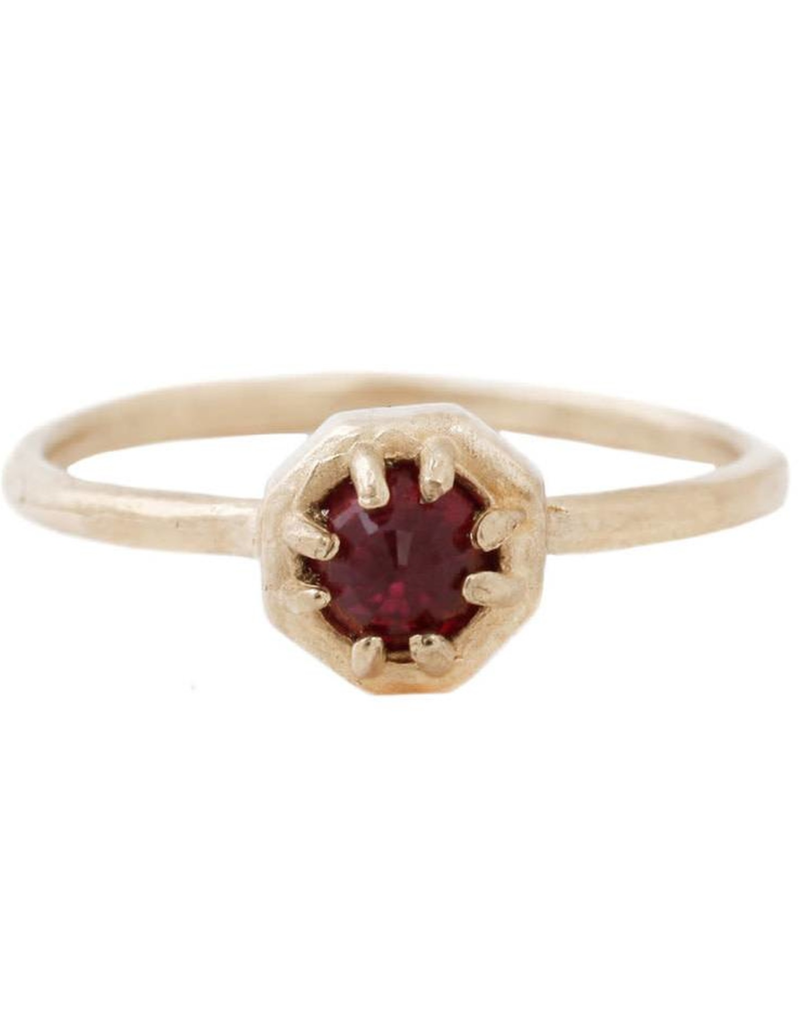 Lauren Wolf Jewelry Tiny Gold Octagon Ring - Ruby