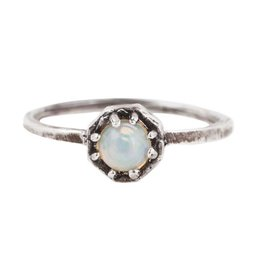 Lauren Wolf Jewelry Tiny Oxidized Silver Octagon Ring - Opal