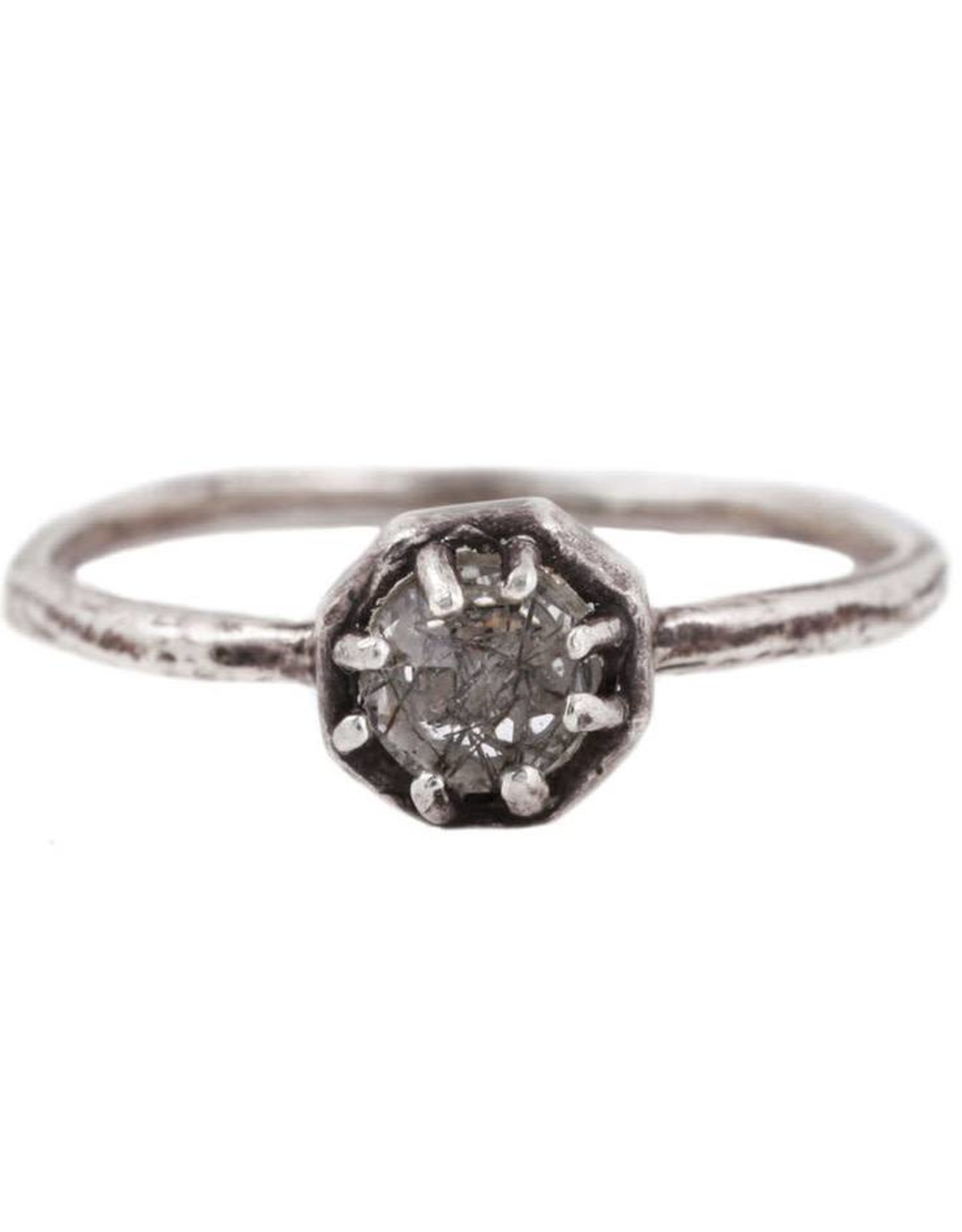 Lauren Wolf Jewelry Tiny Oxidized Silver Octagon Ring - Tourmalated Quartz