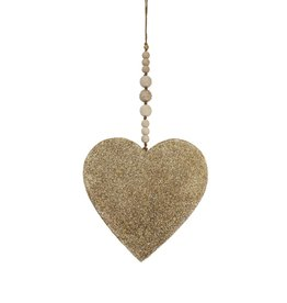 Entouquet Large, Beaded Champagne Sparkle Heart w. Crystal Ball Hanging