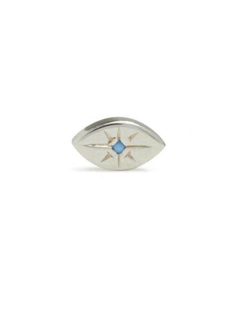 Scosha Tiny Evil Eye Silver Stud - Turquoise