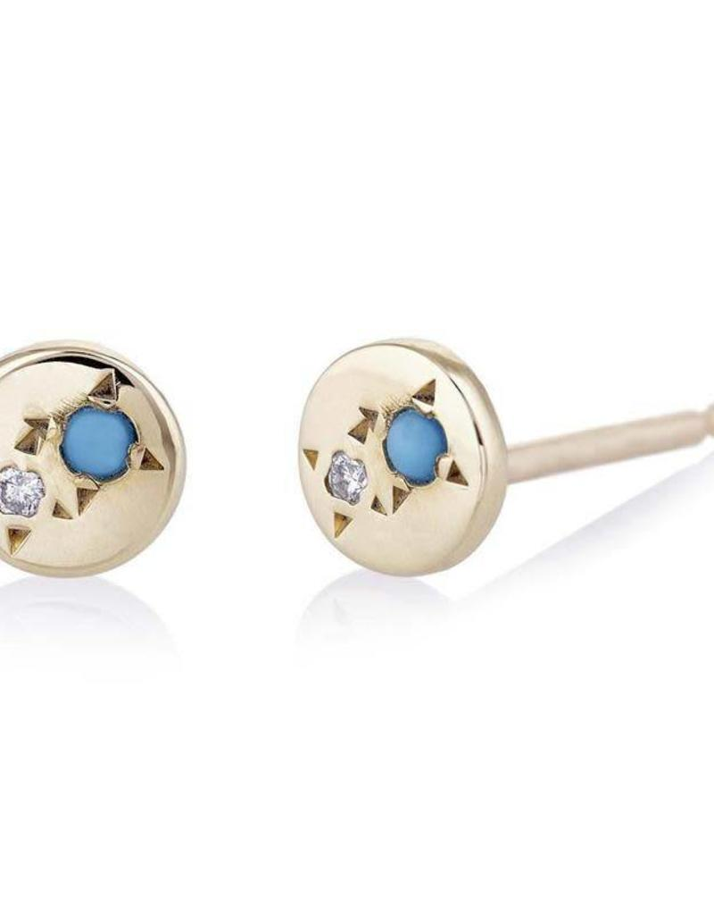 Scosha Juxtaposed Gold Stud - Diamond + Turquoise