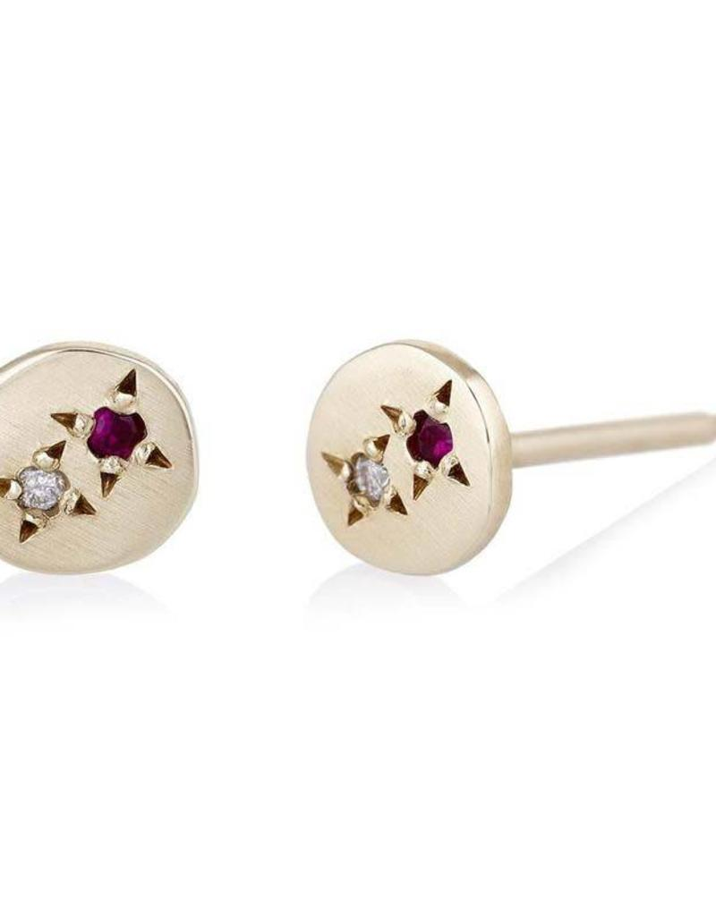Scosha Juxtaposed Gold Stud - Diamond + Ruby