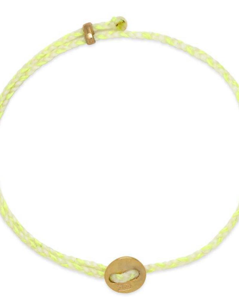 Scosha Signature Brass Slider Bracelet - White + Neon Yellow