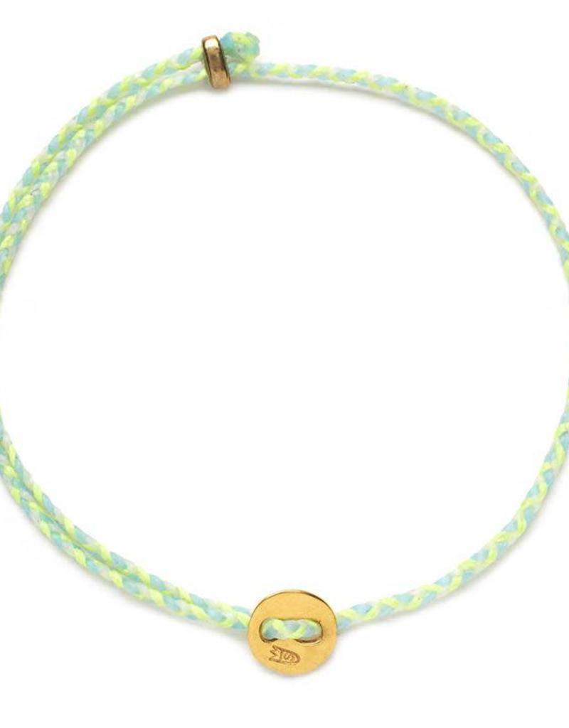 Scosha Signature Brass Slider Bracelet - Neon Yellow + Sky + White