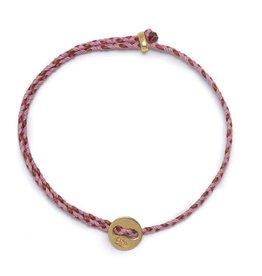 Scosha Signature Brass Slider Bracelet - Rose + Red